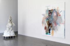 Works of Rebecca Warren and Albert Oehlen.